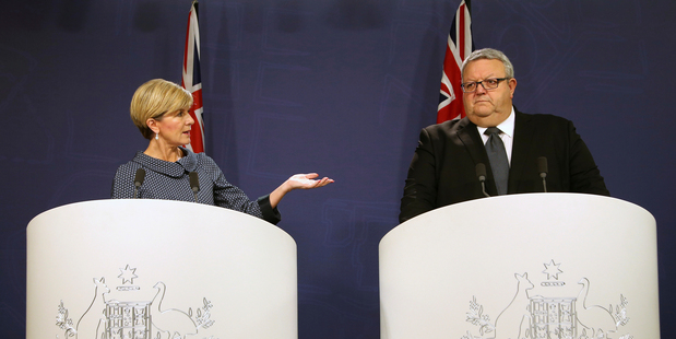 Loading Australian Foreign Minister Julie Bishop (left) and NZ Foreign Minister Gerry Brownlee hold a joint press conference in Sydney. Photo/AP