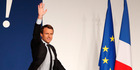 French centrist presidential candidate Emmanuel Macron waves to the crowd during a campaign rally in Chatellerault, central France. Photo / AP