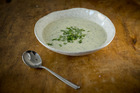 Potato and herb soup. Photo / Dean Purcell