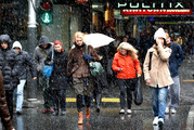 A snow flurry whipped through central Auckland in August 2011. At 6C predicted in the region, it is unlikely to be repeated tomorrow. Photo / Sarah Ivey