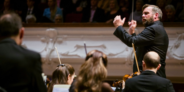 English conductor Rumon Gamba, one of the most flamboyant conductors the APO has worked with in recent times.  Photo/Adrian Malloch