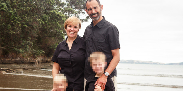 Leslie Gelberger and wife Laura McLeod with their sons, Silas and Linus. Photo / Supplied