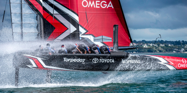 Loading The daggerboards are key to the performance of the America's Cup Class race boats. Photo: Hamish Hooper/ETNZ