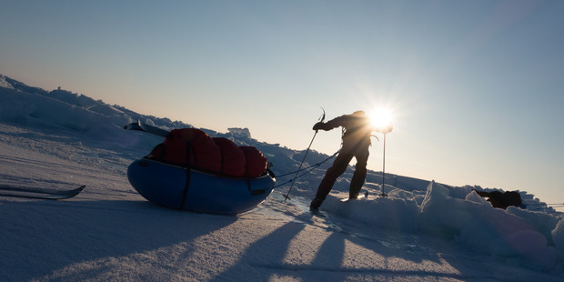 Participants in the trek had to drag sleds with 40kg of gear across the ice for six days. Photo / Supplied