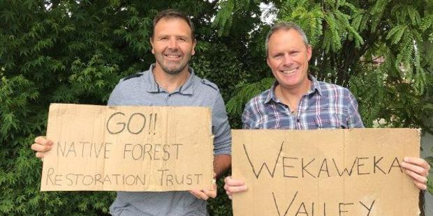 Adam Gard'ner and Duane Major, from the Awaroa Beach Campaign, back the Wekaweka forest campaign.