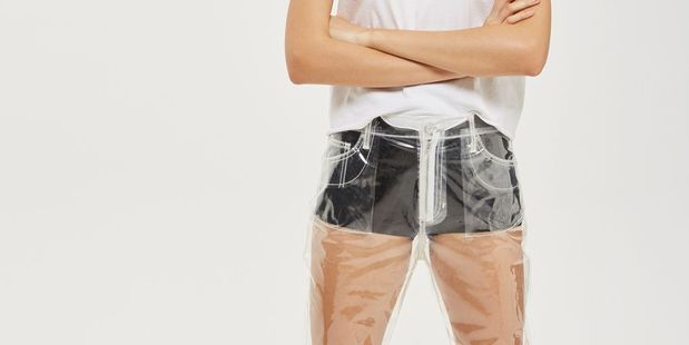 Topshop is raising eyebrows with the release of their clear plastic jeans. Photo / Topshop