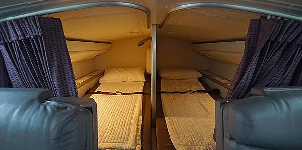 Virgin Australia revealed images of the sleeping quarters for cabin crew and pilots. Photo / Virgin Australia