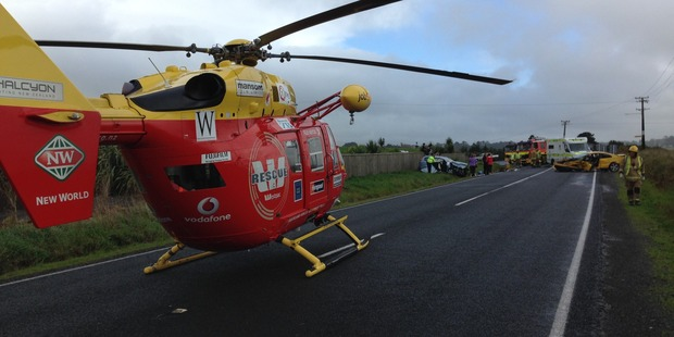 Loading The scene of a two car crash near Waiuku. Photograph supplied by Auckland Rescue Helicopter Trust