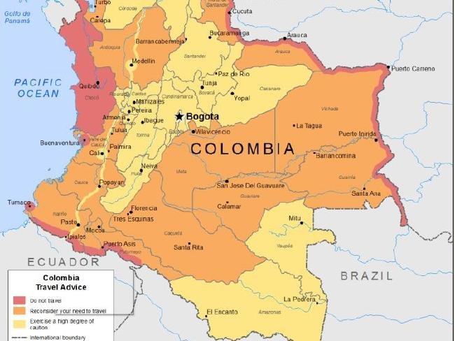 Map on smartraveller.gov.au shows areas in Colombia people should not travel to in red, to reconsider travelling to in orange and to exercise a high degree of caution in yellow.