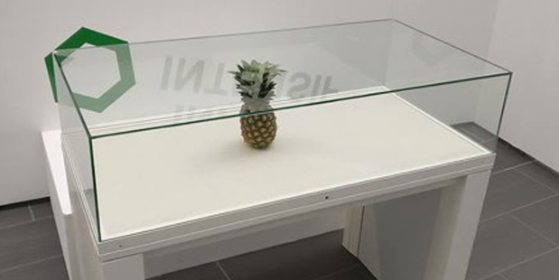He returned a few days later to discover his pineapple had been moved into a glass case. Photo / Supplied