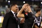 Kiwis coach David Kidwell, who remains a conundrum, attempts to console Simon Mannering. Photo / Getty Images
