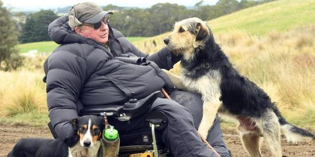 Central Otago farmer Grant Calder with Haig (left) and Ned at the South Island sheep dog trial championships. Photo / Stephen Jaquiery