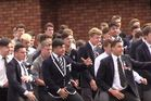 Palmerston North Boys' High School pupils paid their respects to teacher Jimmy Crosswell with a mass haka at his funeral. Photo / YouTube