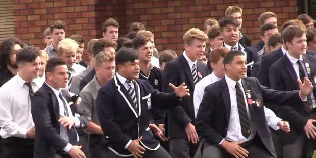 Loading Palmerston North Boys' High School pupils paid their respects to teacher Jimmy Crosswell with a mass haka at his funeral. Photo / YouTube