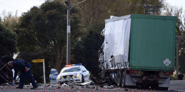 The badly-damaged truck at the crash scene. Photo/George Novak