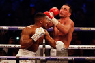 British boxer Anthony Joshua, left, fights Ukrainian boxer Wladimir Klitschko. Photo / AP