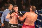WBO Heavyweight Champion Joseph Parker against Razvan Cojanu. Photo / Michael Craig