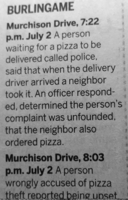 When you're hungry, call in the law. Or not.