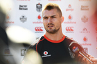 Kieran Foran talks to the media today about his move to the Bulldogs. Photo / photosport.nz