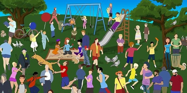 Families, sunbathers and tennis players are all soaking up the sunshine in the park but there is one woman who is feeling unwell. Can you work out where she is?