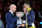 Novak Djokovic (right) is reportedly keen to get his trophy charge back on track with Andre Agassi (left) as coach. Photo / AP