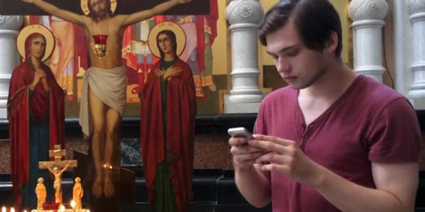 The video on his blog last year showed him playing the smartphone game in the church. Photo / Supplied