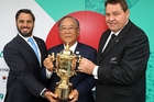 All Blacks coach Steve Hansen (right) with World Rugby vice-chairman Agustin Pichot (left) and Fujio Mitarai, chairman of the organising committee at the World Cup draw. Photo / Getty Images
