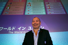 Eddie Jones, head coach of England poses during the draw for the pool stage of the Rugby World Cup 2019 tournament. Photo / AP