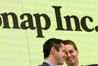 Snapchat co-founders Bobby Murphy, left, and CEO Evan Spiegel. Photo / AP