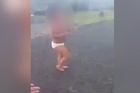 A social media video shows a toddler wandering the streets in underwear as mum is at work