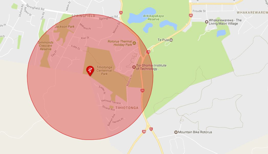 Map showing area affected by power outage.