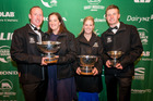 Christopher and Siobhan O'Malley (left), Hayley Hoogendyk and Clay Paton celebrate at the 2017 New Zealand Dairy Industry Awards. Photo: Supplied