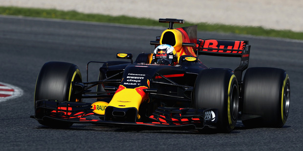 Daniel Ricciardo during day three of Formula One winter testing at Circuit de Catalunya. Photo / Getty Images