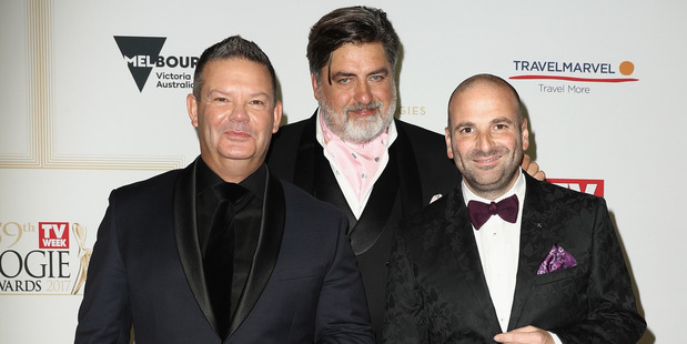 George Calombaris (right) with his Masterchef co-stars Gary Mehigan and Matt Preston. Photo / Getty Images