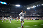 Real Madrid's Cristiano Ronaldo celebrates after scoring his third goal against Atletico Madrid in the first leg of their Champions league semi-final tie last week. Photo / Getty Images.