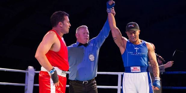 AND THE WINNER IS: Charlie Rudd is declared the winner in his fight against David Silk. Photo / Michelle Davies