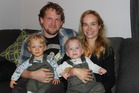 FAMILY: Tony Wilson and Anja Freundl with their twins Mats, left, and Leo.