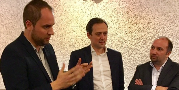 Andrew Little's chief of staff, Neale Jones, left, campaign manager Andrew Kirton, and Rob Salmond, adviser to Andrew Little. Photo/ Audrey Young