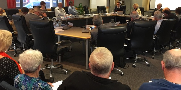 James Palmer from regional council's strategic development group speaks at today's meeting. Photo Warren Buckland
