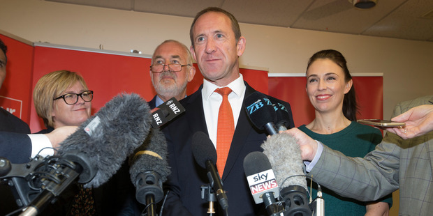 Loading Labour leader Andrew Little, with party officials, from left, senior vice-president Beth Houston, president Nigel Haworth, and deputy leader Jacinda Ardern. Photo / Mark Mitchell
