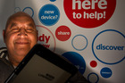 Anarua Bidois with his iPad at the iwi digiMarae, teaching kaumatua. Photo/Stephen Parker