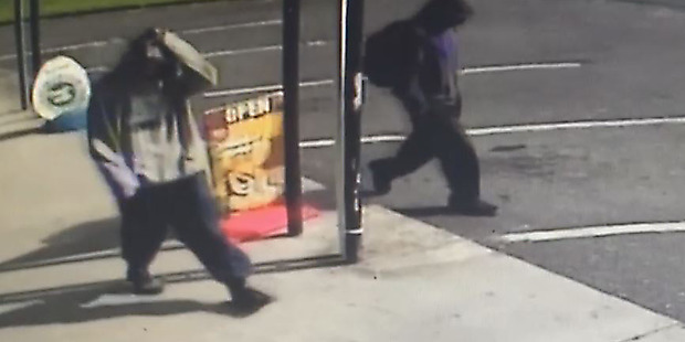 Police are calling for information on the Carlisle Street Convenience Store robbery yesterday that involved two offenders caught on CCTV footage. Photo/supplied
