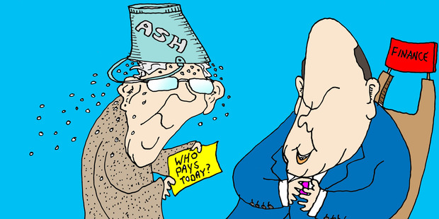 Perhaps Sir Michael Cullen's first task, carefully decked out in a suit of sackcloth and ashes,  should be to take that message to present Finance Minister Steven Joyce. Illustration / Peter Bromhead