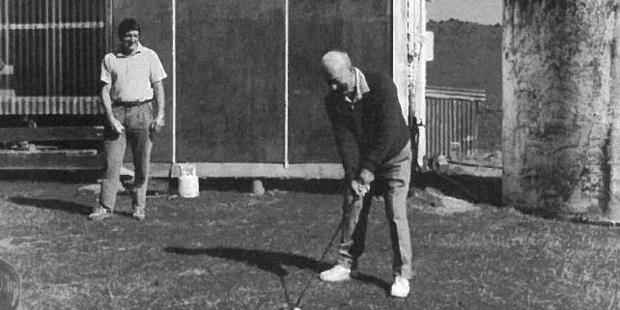 Chris Wilmshurst (patron and life member) hitting the first ball at the official opening day, March 1, 1991. President J Cusdin is watching.