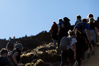 Walkers on the Tongariro Crossing. The number of walkers on the track has grown markedly. Photo / Mike Scott