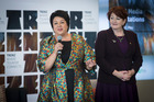 MPs Paula Bennett, left, and Maggie Barry make tourism infrastructure and DoC pre-budget announcements at the TRENZ travel and trade event at the Cloud today.  Photo/Jason Oxenham