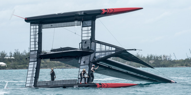 Loading America's Cup defenders Oracle Team USA have already capsized twice during training. Photo: Sam Greenfield/OTUSA