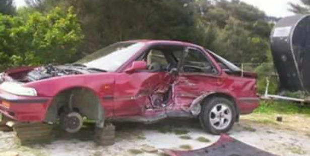 The car Aimee was a passenger in following the crash. Photo / Supplied
