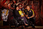Stevie Ray Tiopira, 10, (left) meets Chiefs player Ziggy Fisiihoi. Photo/Stephen Parker