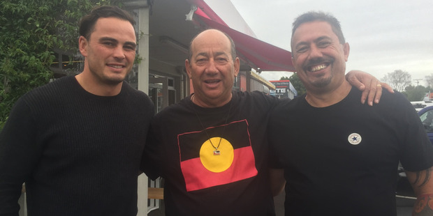 Zac Guildford, Tommy Wilson and Mike King at a cafe in Tauranga. Photo/Supplied